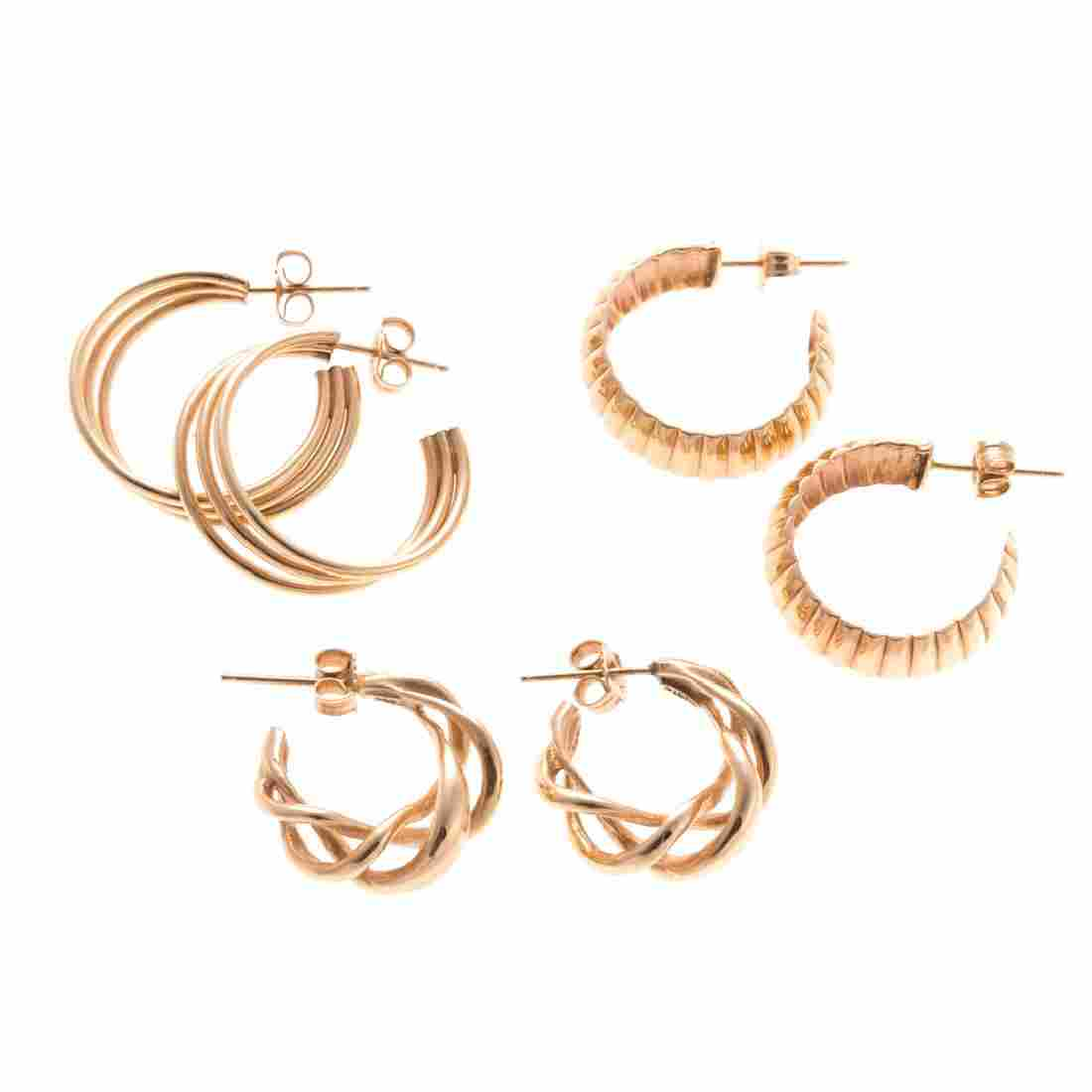 A Trio of Lady's 14K Hoops