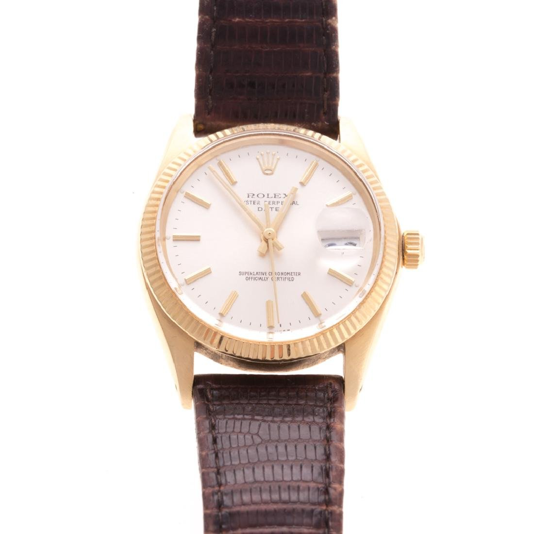 A Gent's 14K Rolex Oyster Perpetual Date Watch