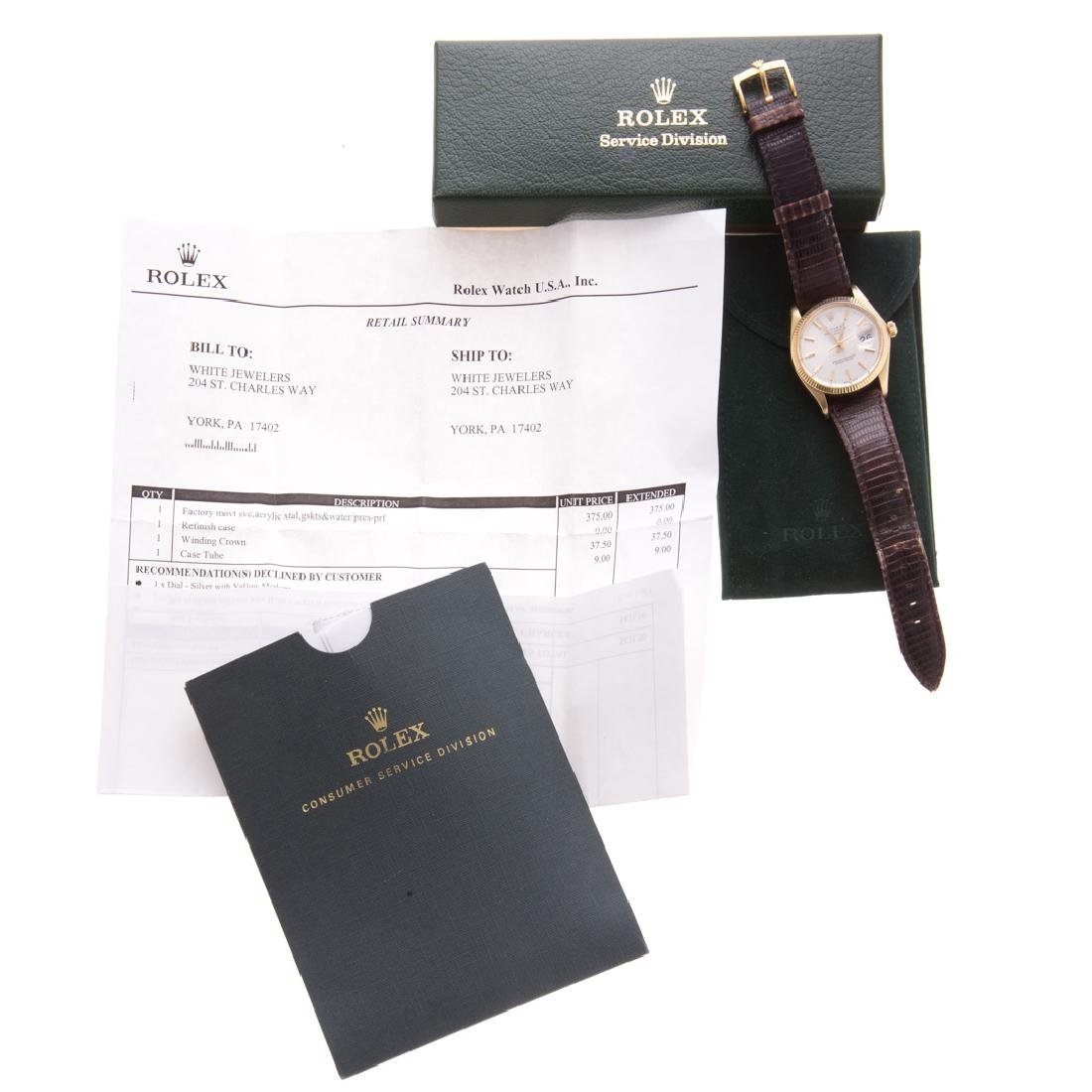 A Gent's 14K Rolex Oyster Perpetual Date Watch - 4