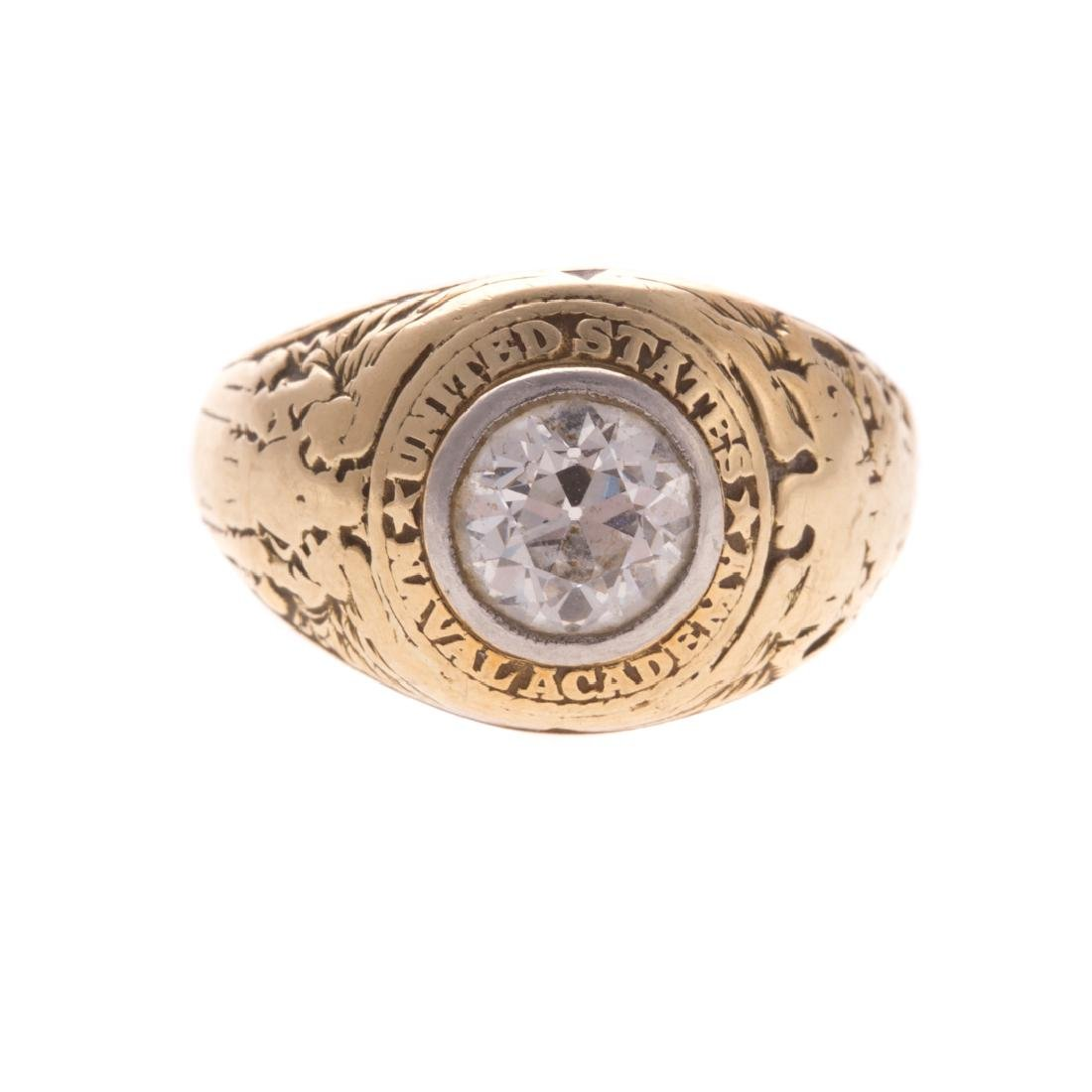 A Lady's Miniature US Naval Academy Ring in 14K