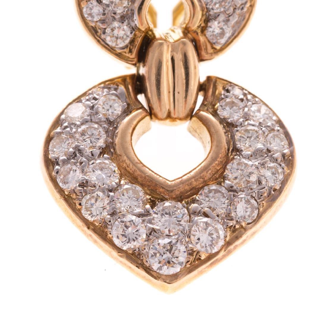 A Lady's 14K Diamond Ear Pendants - 2