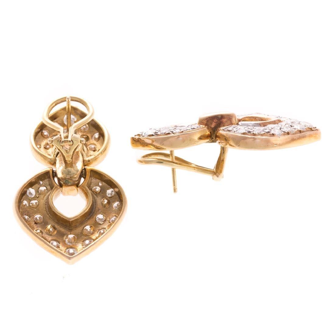 A Lady's 14K Diamond Ear Pendants - 3
