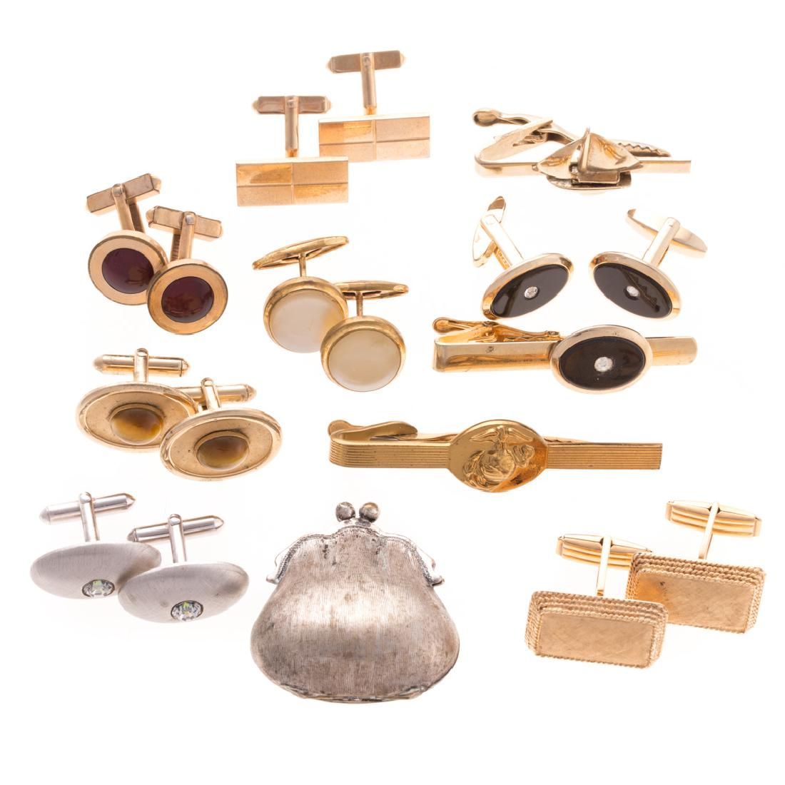 A Collection of Cufflinks and Tie bars
