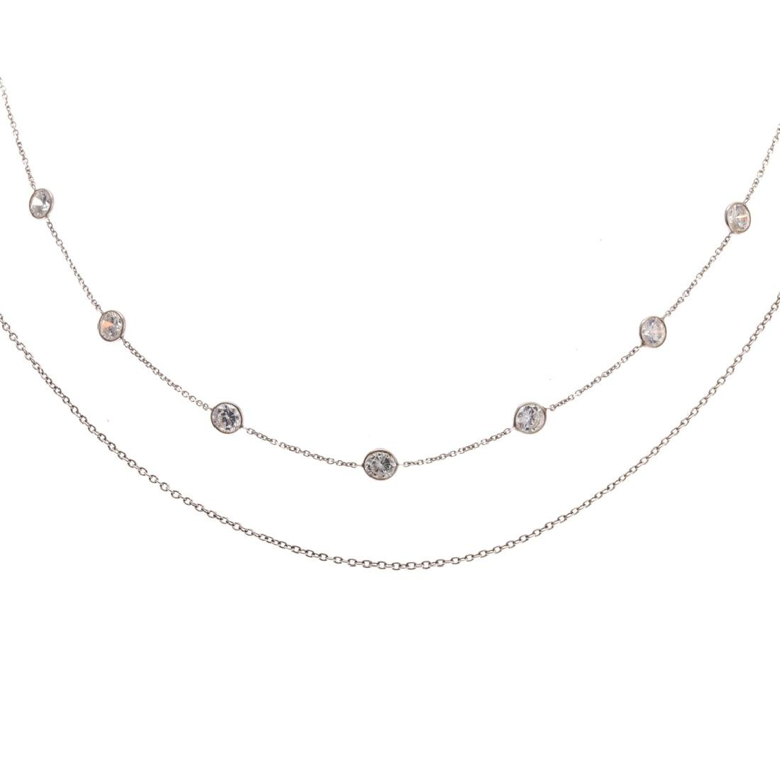 Two Lady's 14K White Gold Necklaces