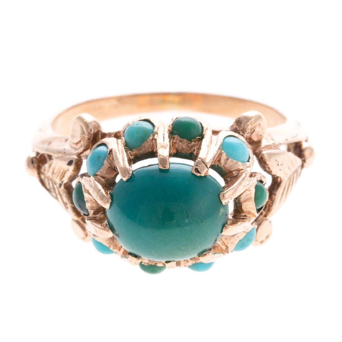 A Lady's Turquoise Ring in 14K Gold