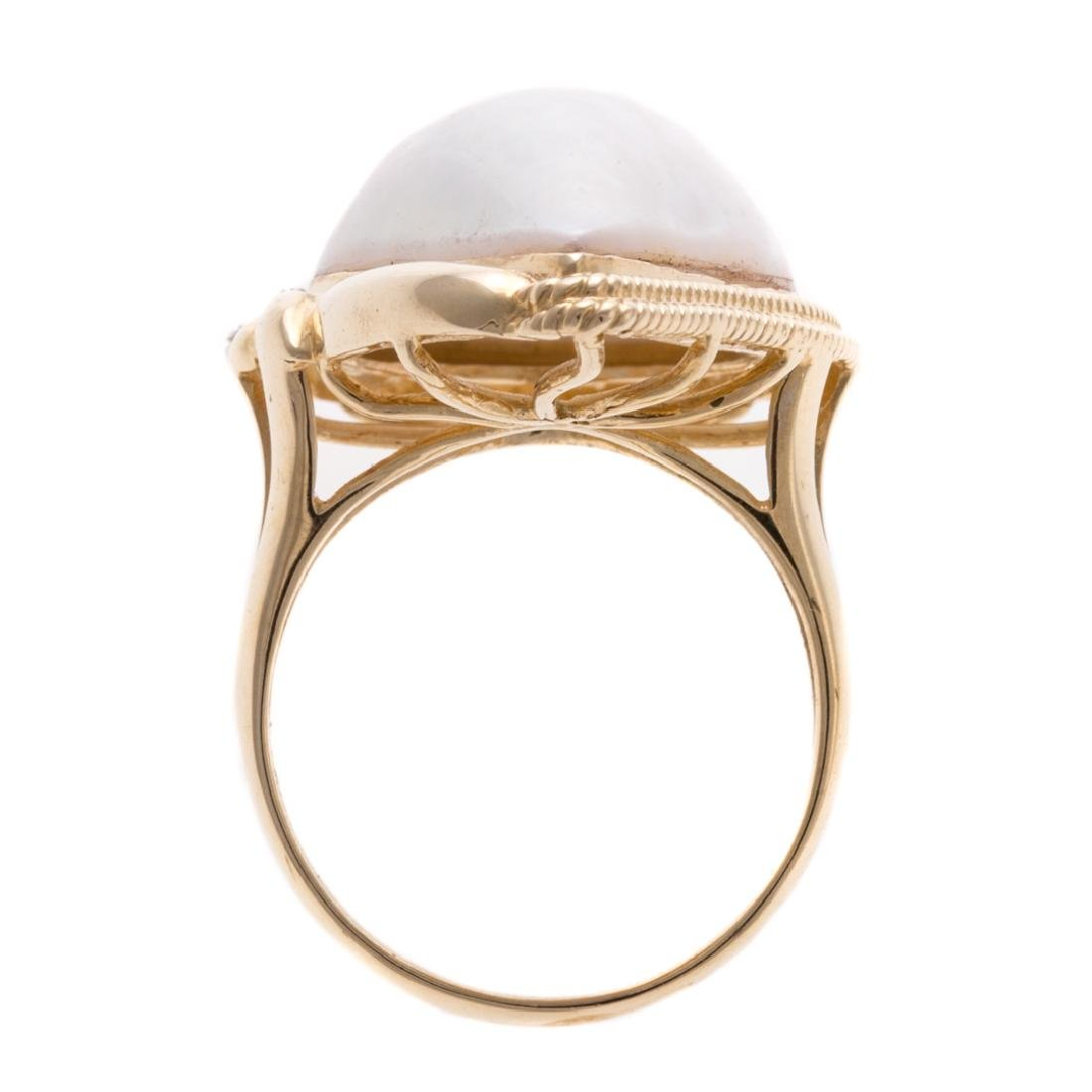 A Lady's 14K Mabe Pearl & Diamond Ring - 5
