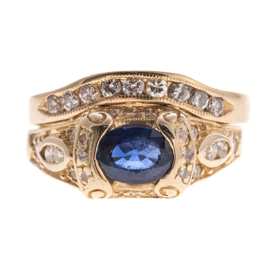 A Lady's Sapphire & Diamond Engagement Set in 14K