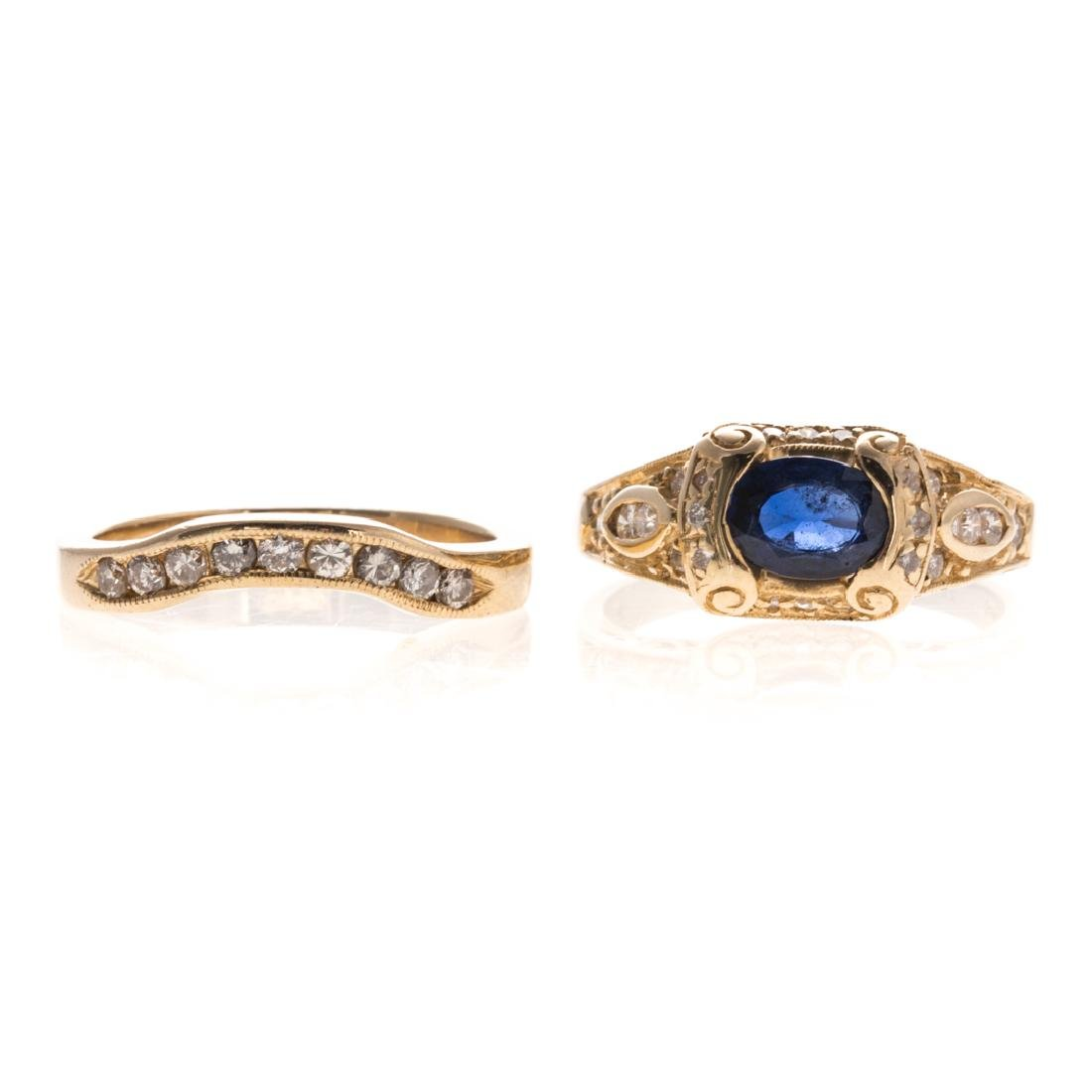 A Lady's Sapphire & Diamond Engagement Set in 14K - 2