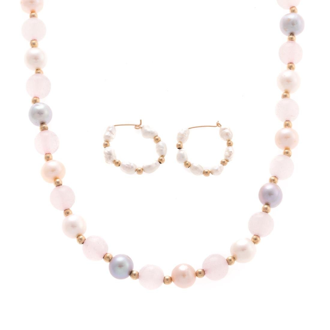 A Lady's Pearl Beaded Necklace with Pearl Earrings