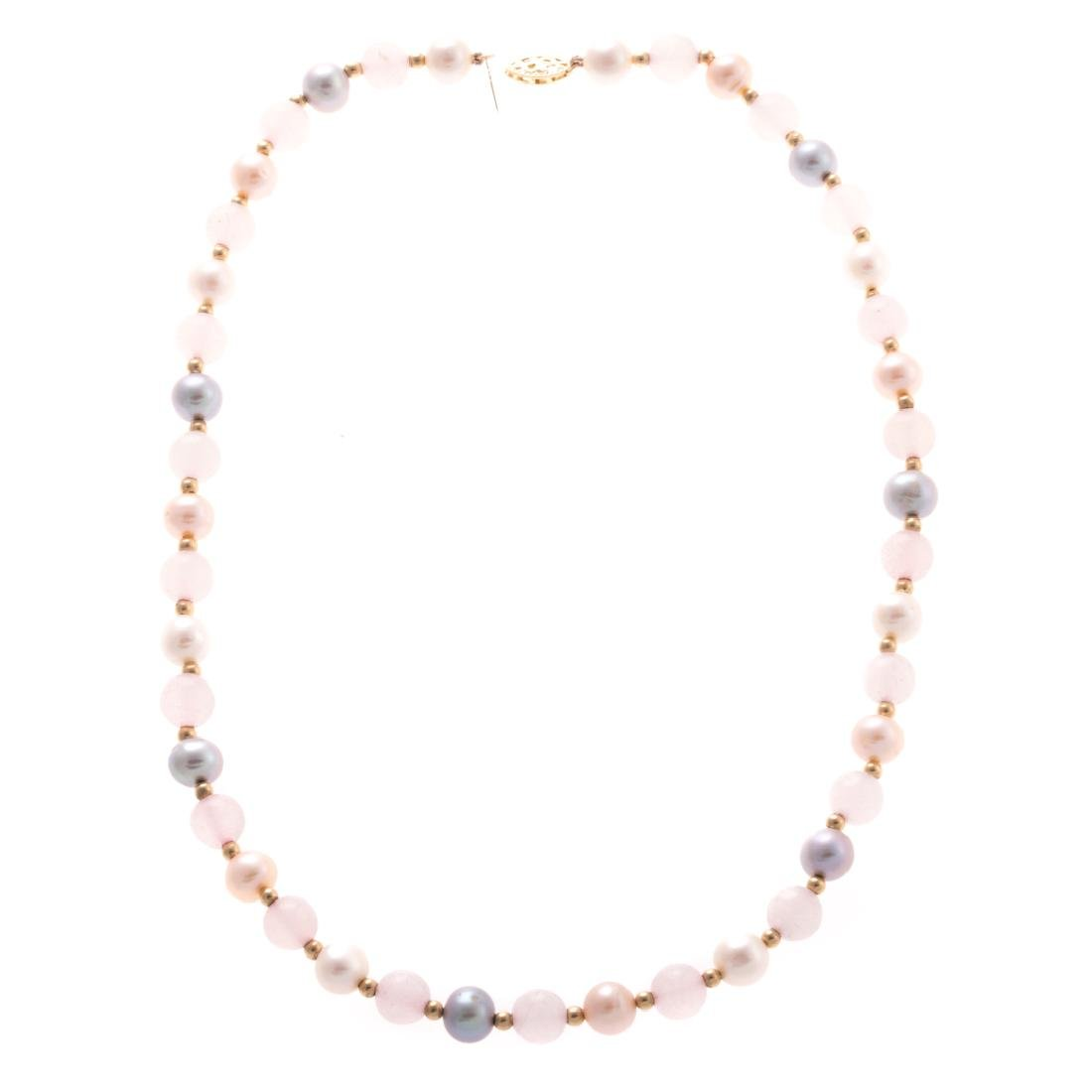A Lady's Pearl Beaded Necklace with Pearl Earrings - 3