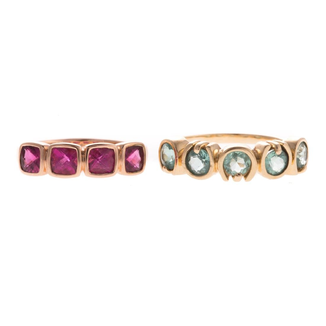 A Pair of 14K Gemstone Band Rings