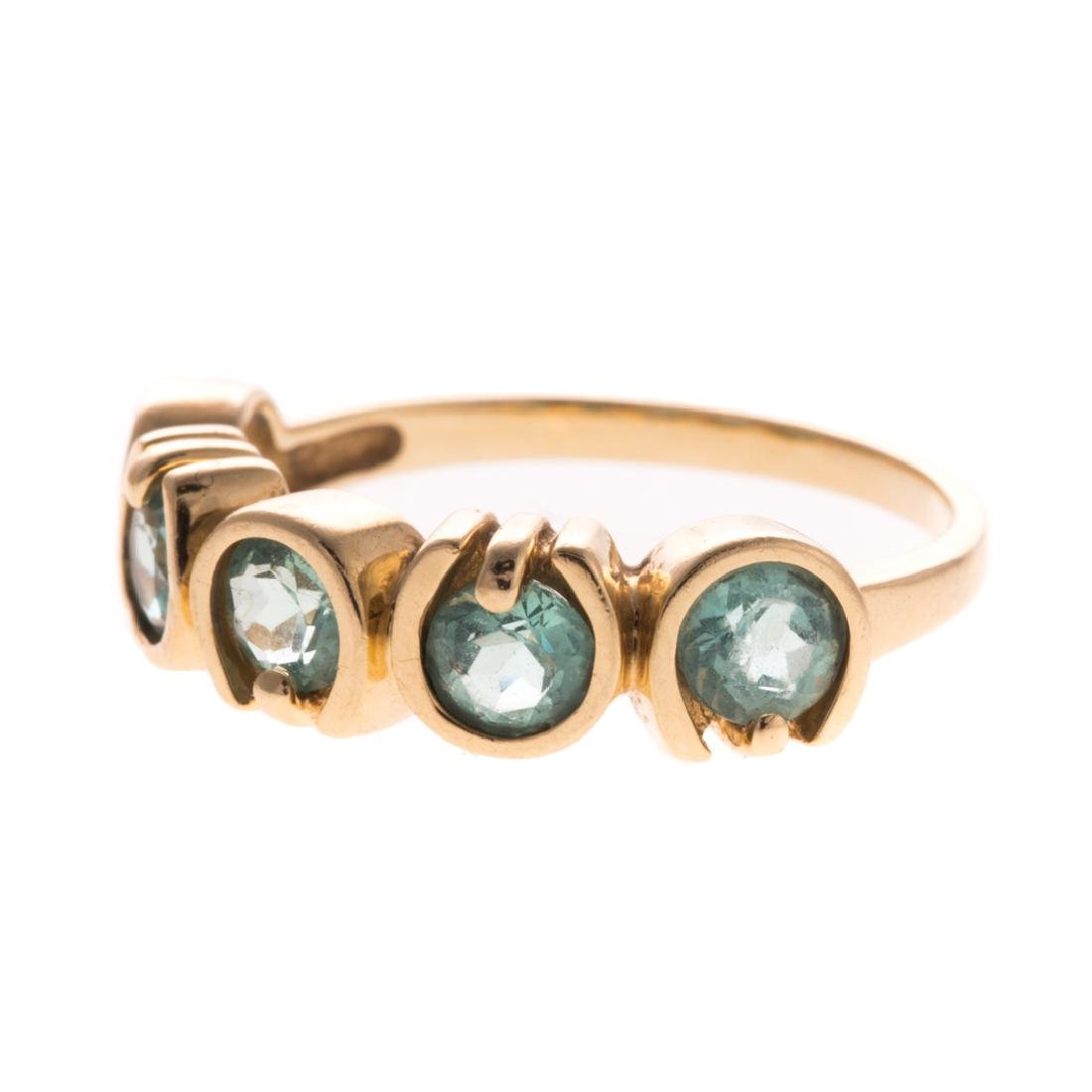 A Pair of 14K Gemstone Band Rings - 2
