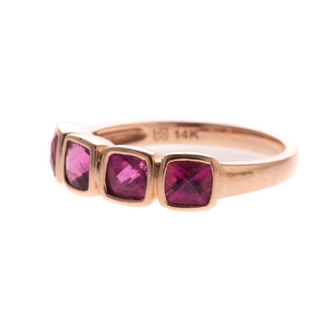 A Pair of 14K Gemstone Band Rings - 3