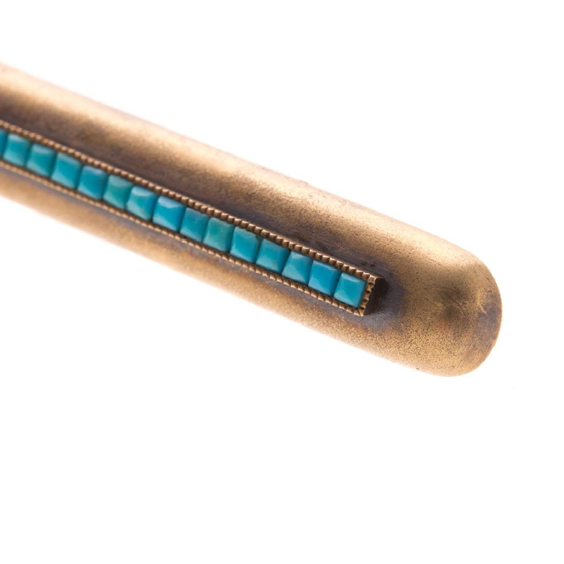 A Lady's Turquoise Bar Pin in 14K Gold - 2