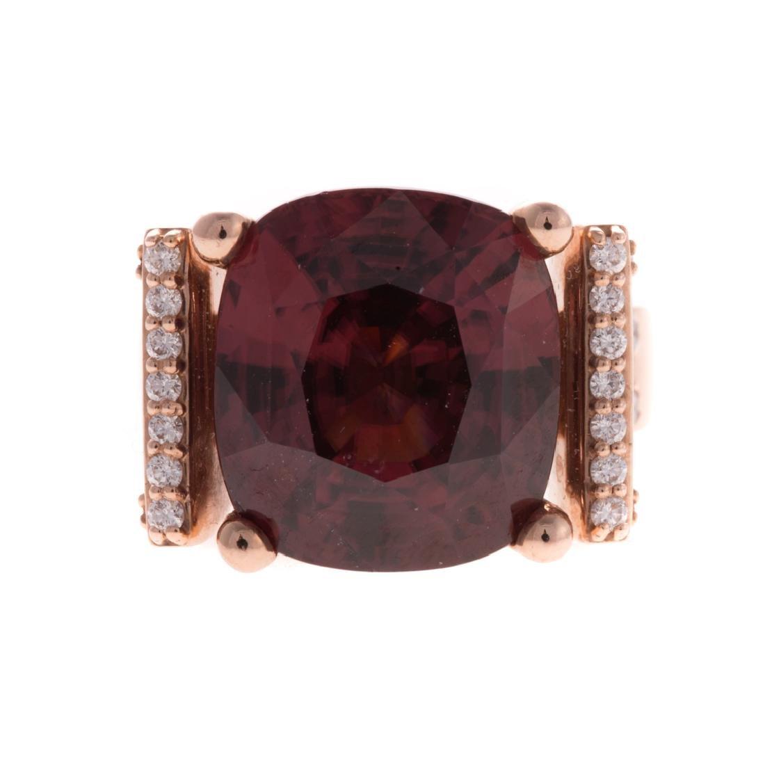 A Rare 17.43ct Red Zircon & Diamond Ring
