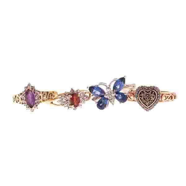 Four Lady's Gemstone Rings in 10K
