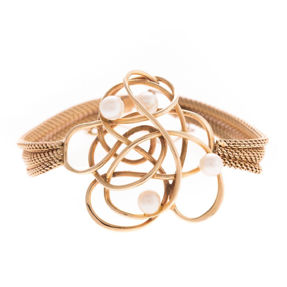 A Whimsical 14K & Pearl Bracelet