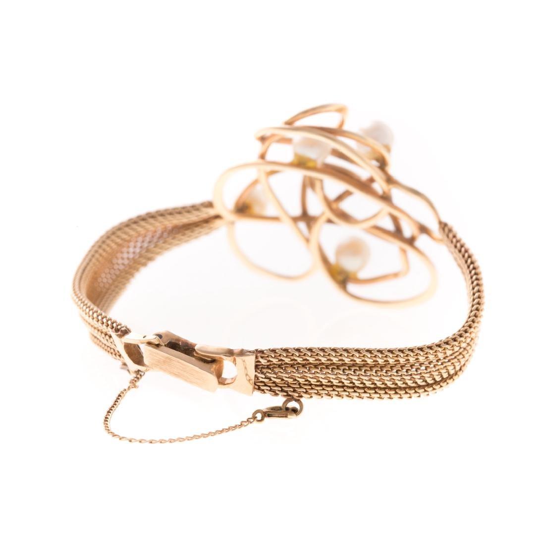 A Whimsical 14K & Pearl Bracelet - 2