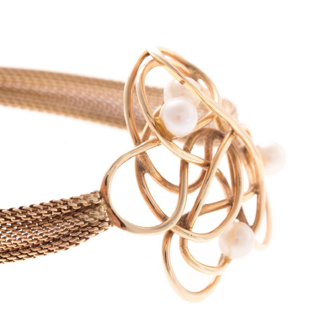 A Whimsical 14K & Pearl Bracelet - 3