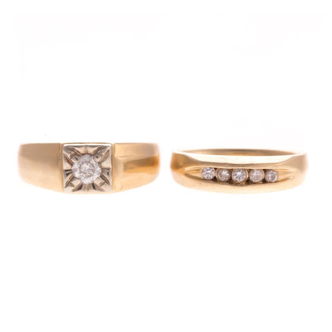 Two Gentlemen's Diamond Rings in 14K