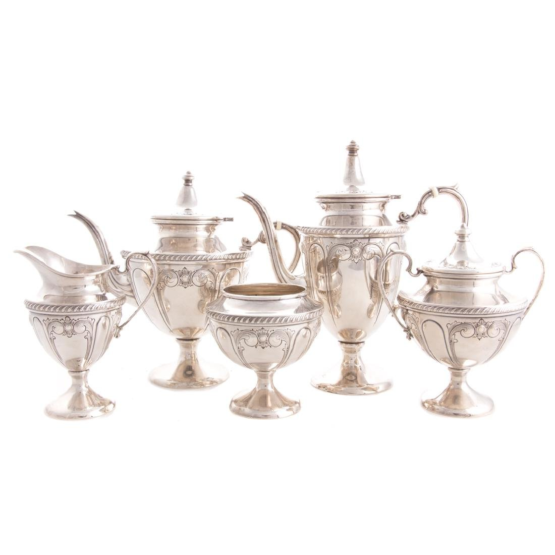 Classical style sterling 5-pc coffee & tea service