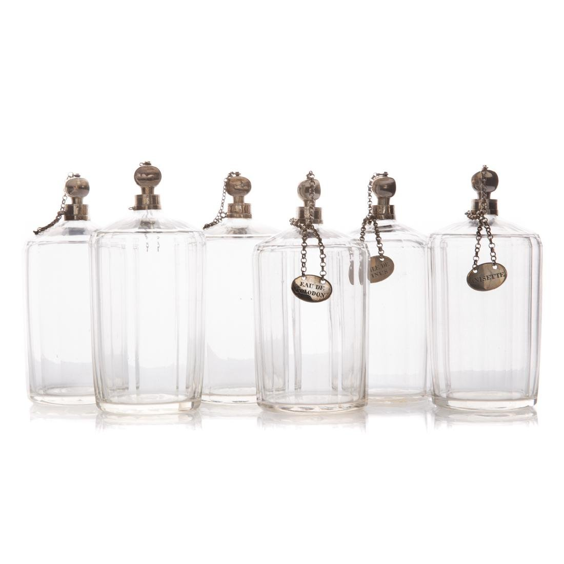 French silver-mounted crystal scent set - 3