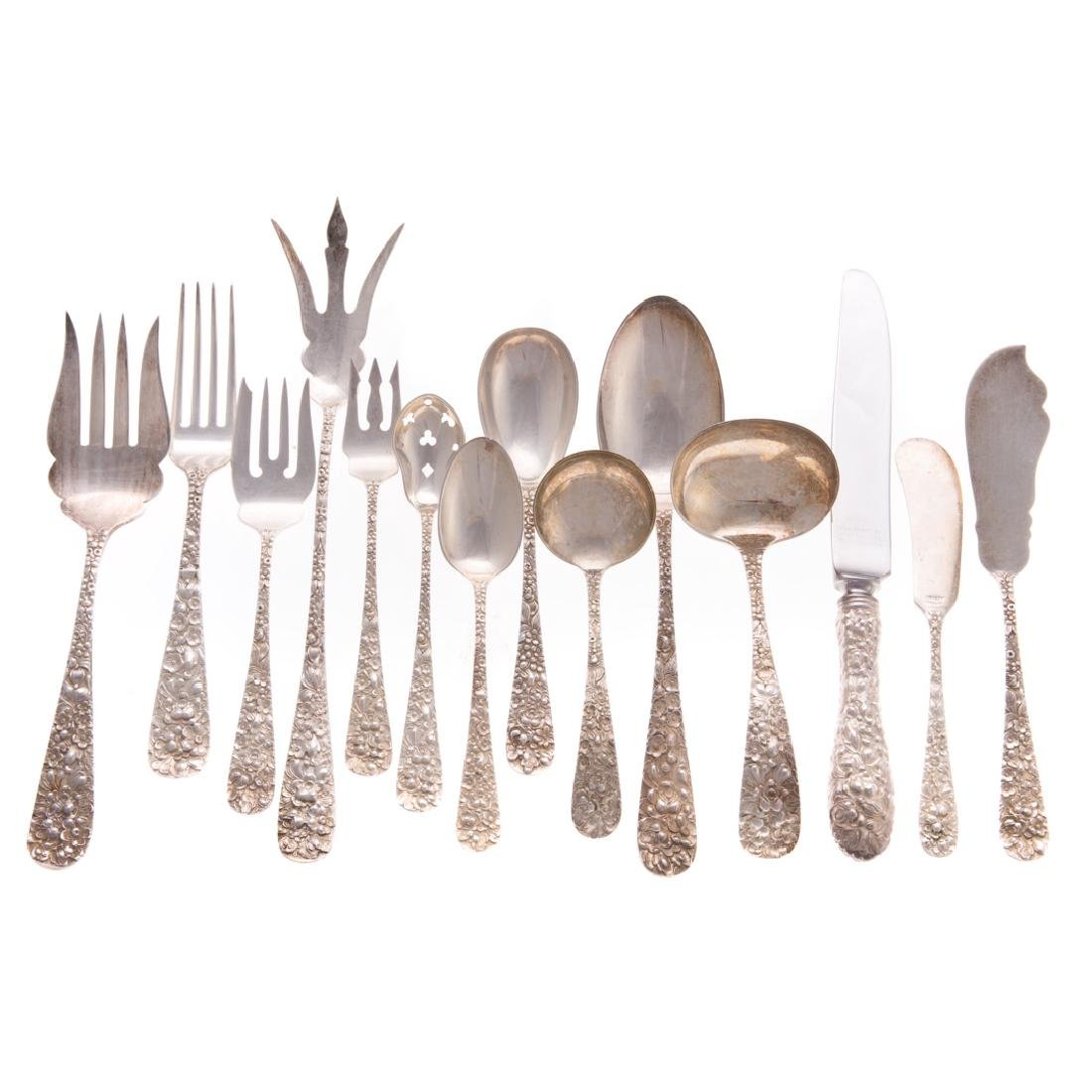 "Stieff ""Rose"" sterling 47-pc flatware"