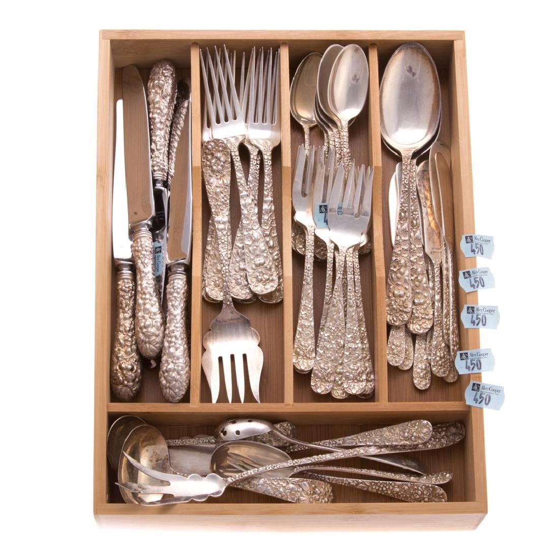 "Stieff ""Rose"" sterling 47-pc flatware - 4"