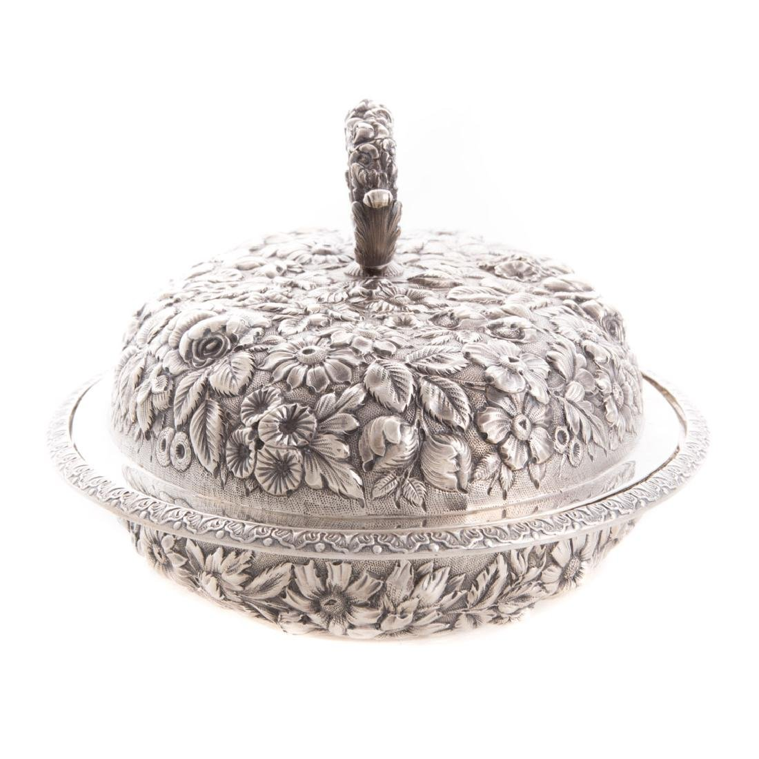 Fine repousse sterling covered vegetable dish - 2