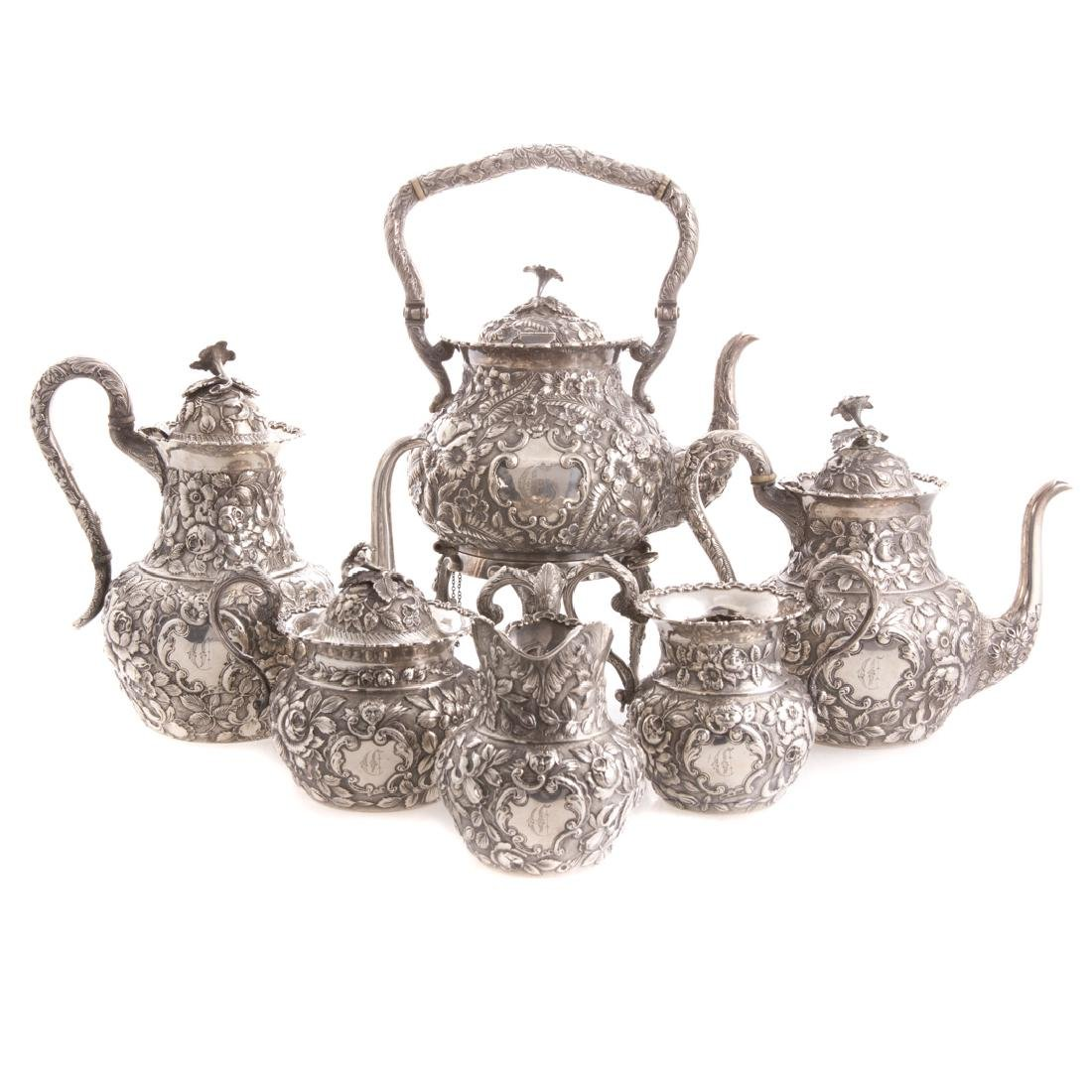 Quality repousse sterling 6-pc coffee/tea service