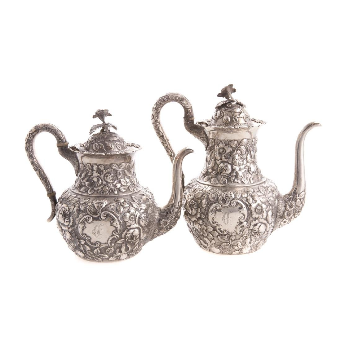 Quality repousse sterling 6-pc coffee/tea service - 4