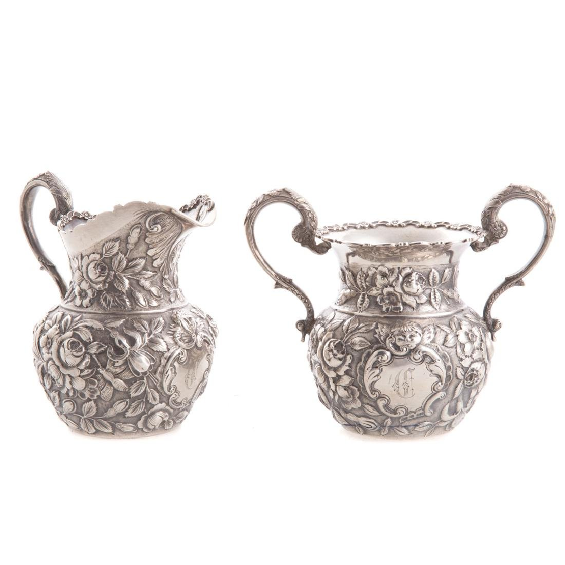 Quality repousse sterling 6-pc coffee/tea service - 7