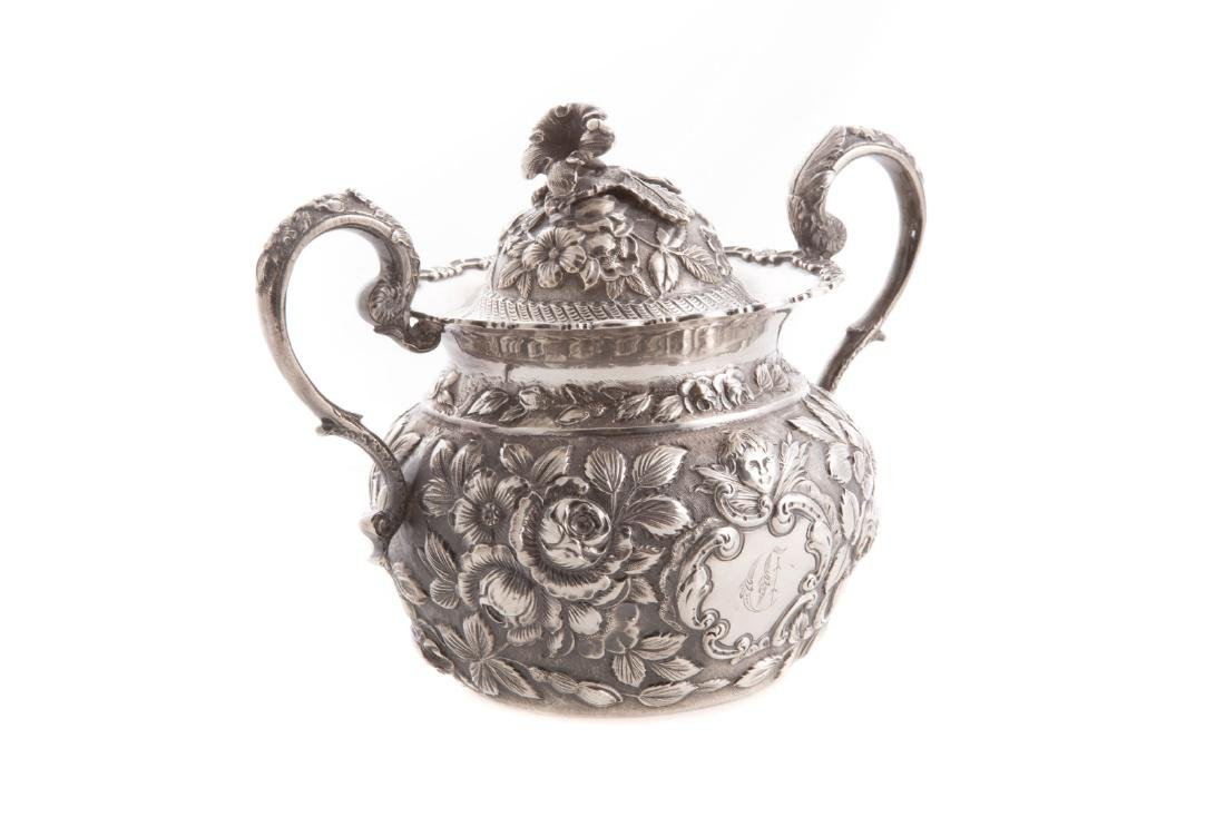 Quality repousse sterling 6-pc coffee/tea service - 8