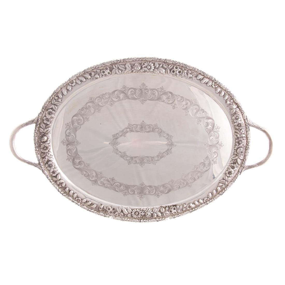 Kirk sterling silver waiter tray in Repousse