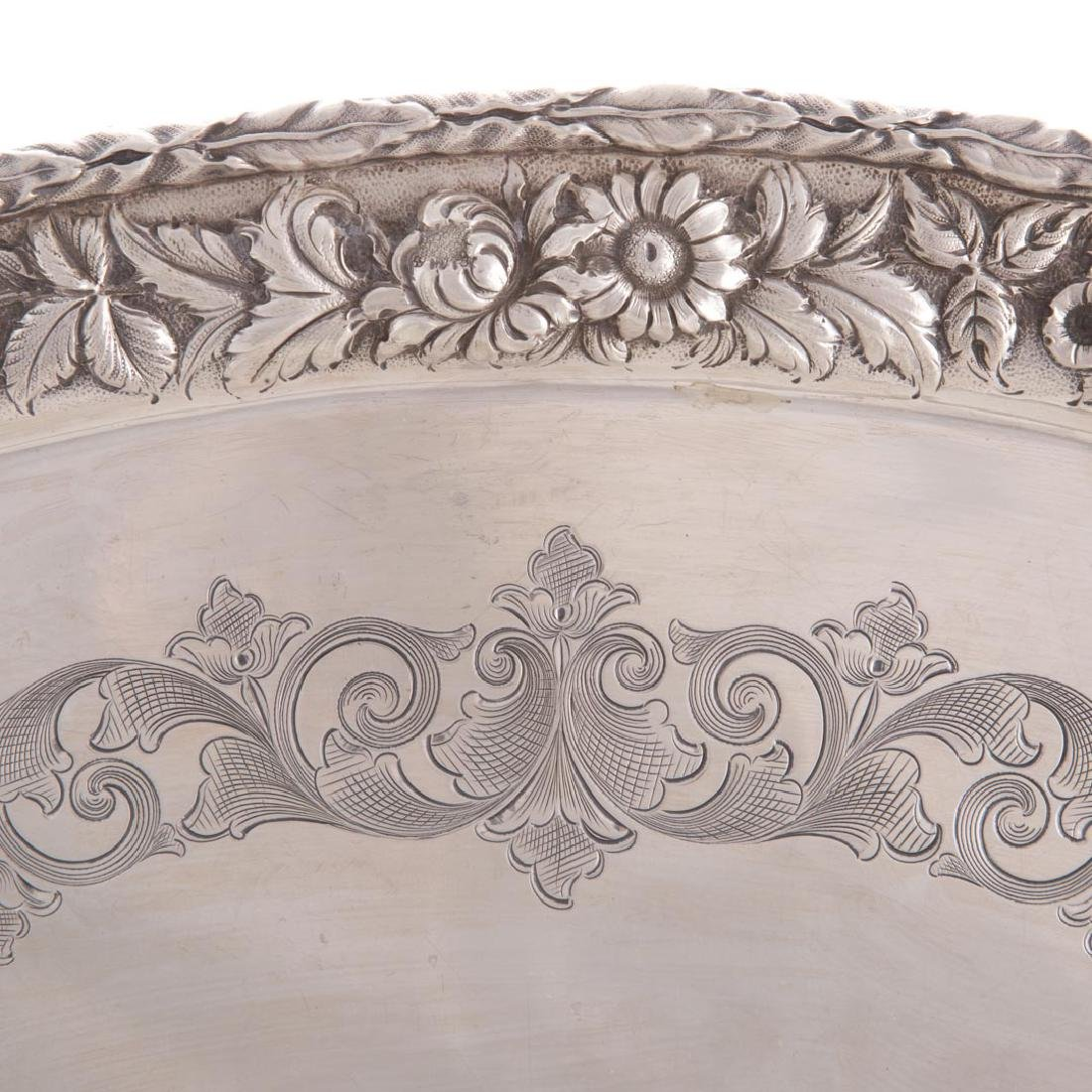Kirk sterling silver waiter tray in Repousse - 2