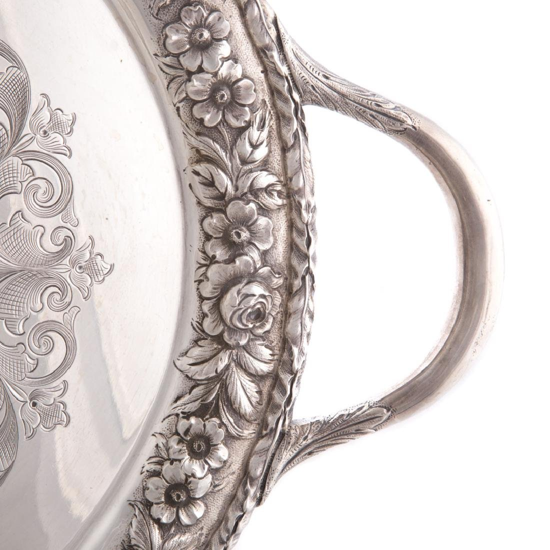 Kirk sterling silver waiter tray in Repousse - 3
