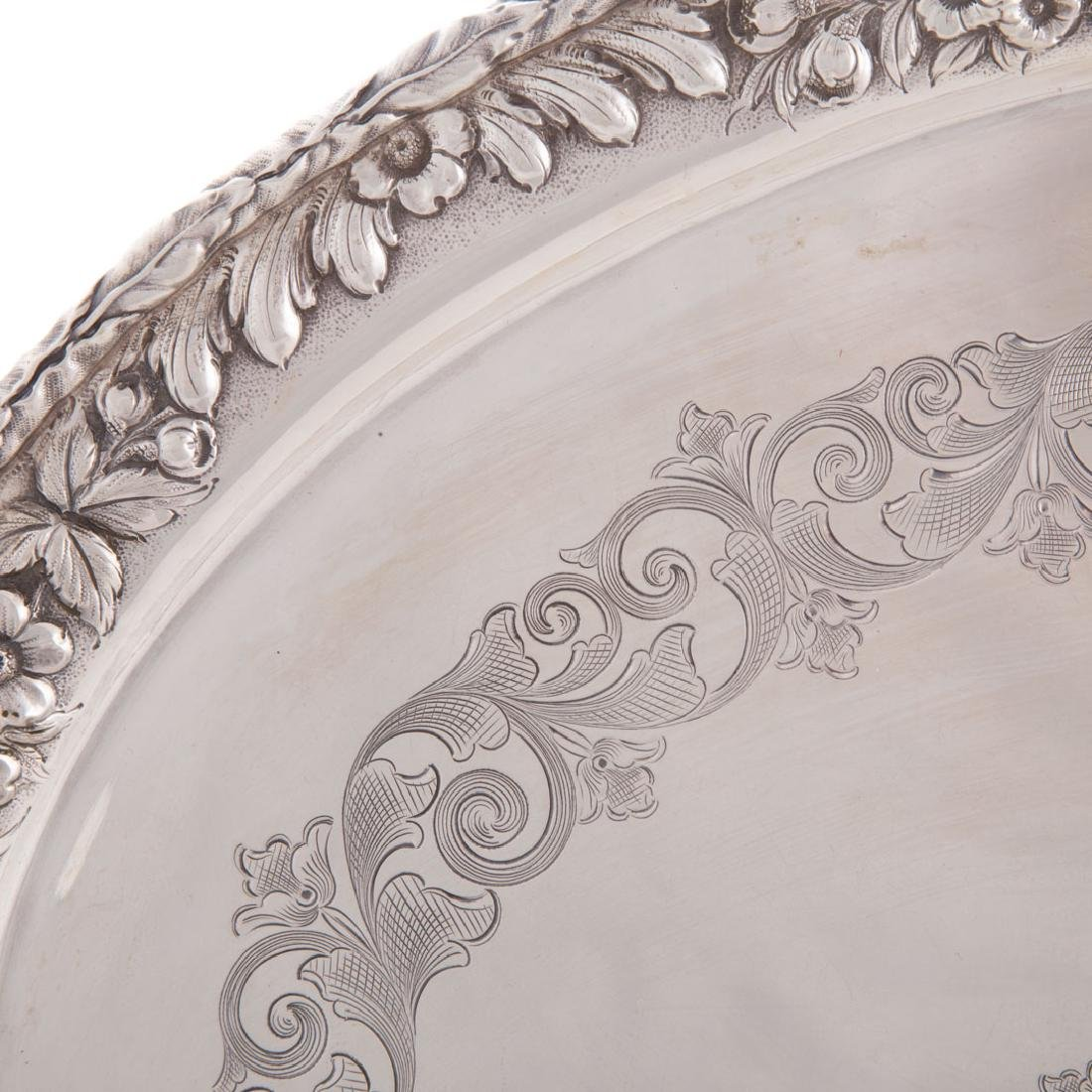 Kirk sterling silver waiter tray in Repousse - 4