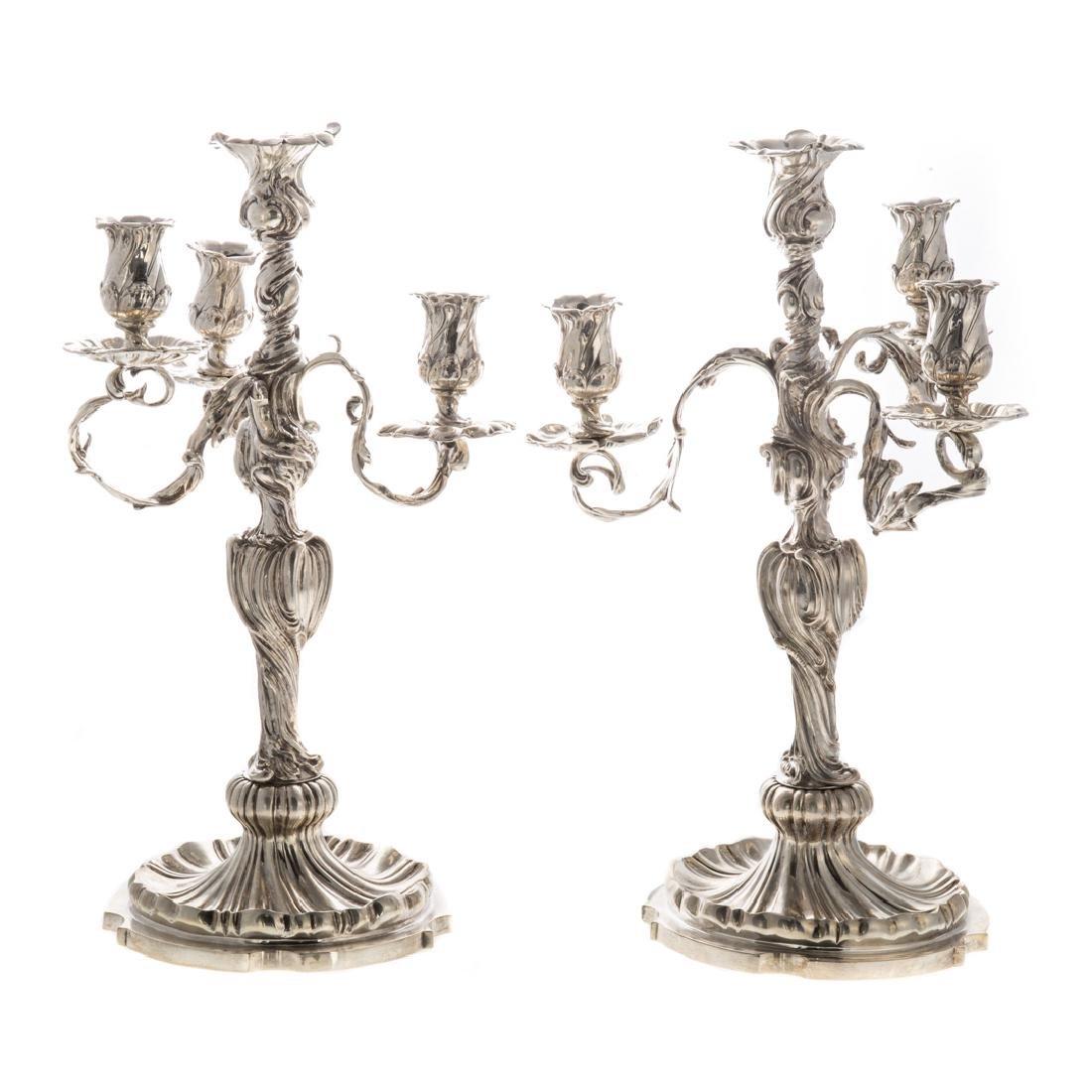 Pair Art Nouveau silver 4-light candelabra