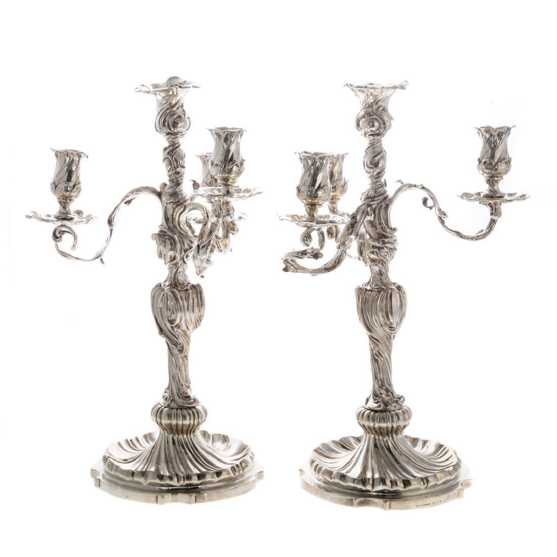 Pair Art Nouveau silver 4-light candelabra - 2