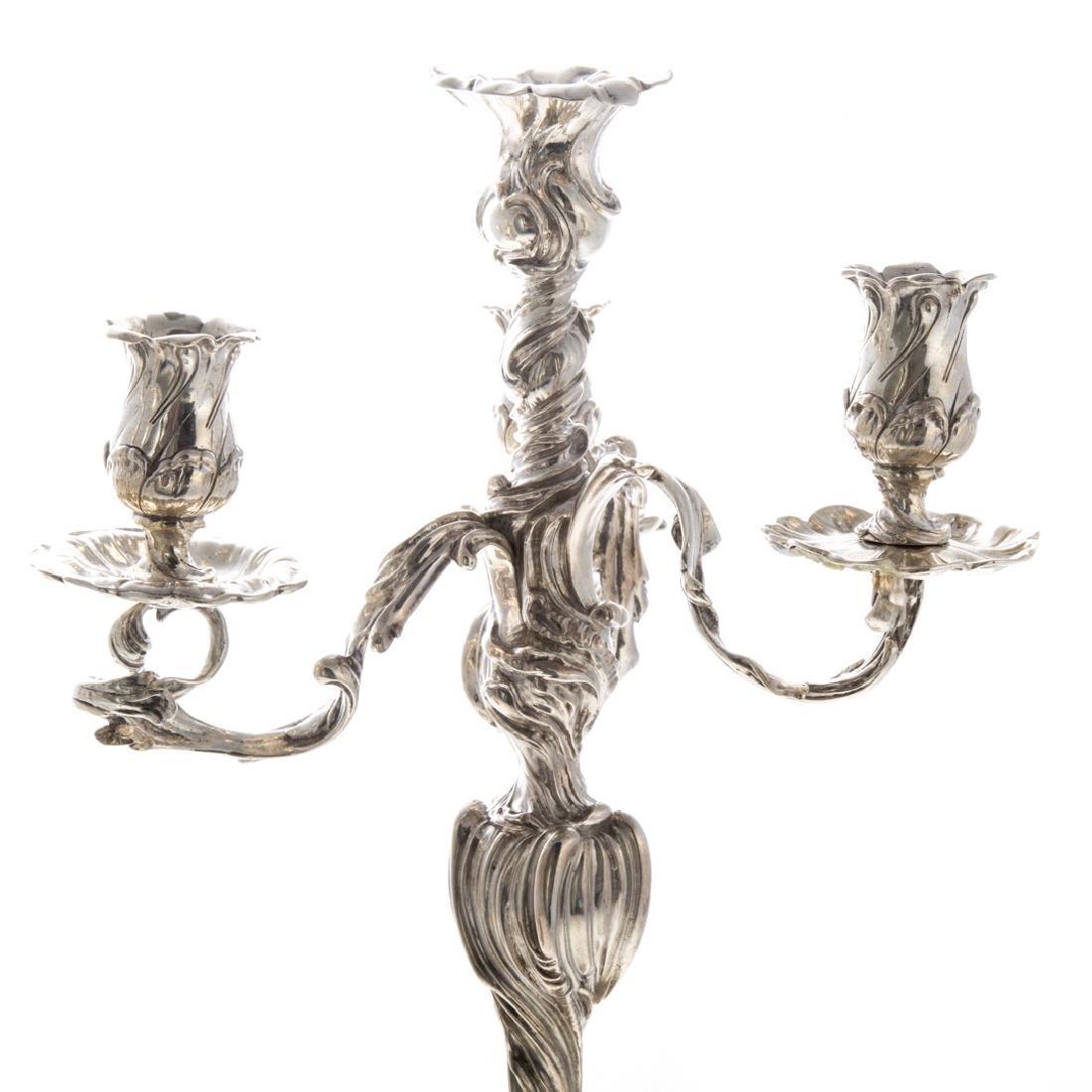 Pair Art Nouveau silver 4-light candelabra - 3
