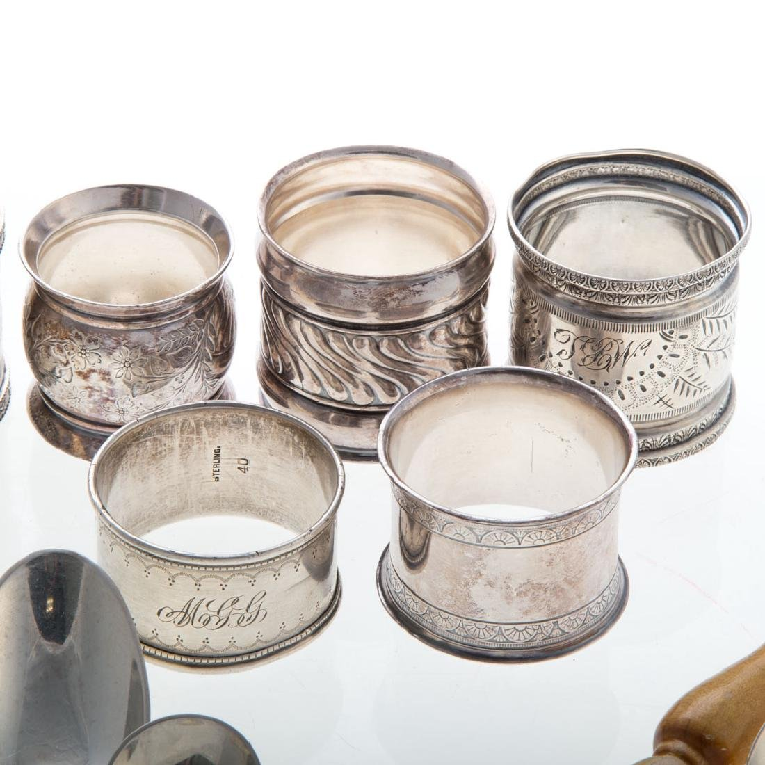 Assorted silver flatware and napkin rings - 5