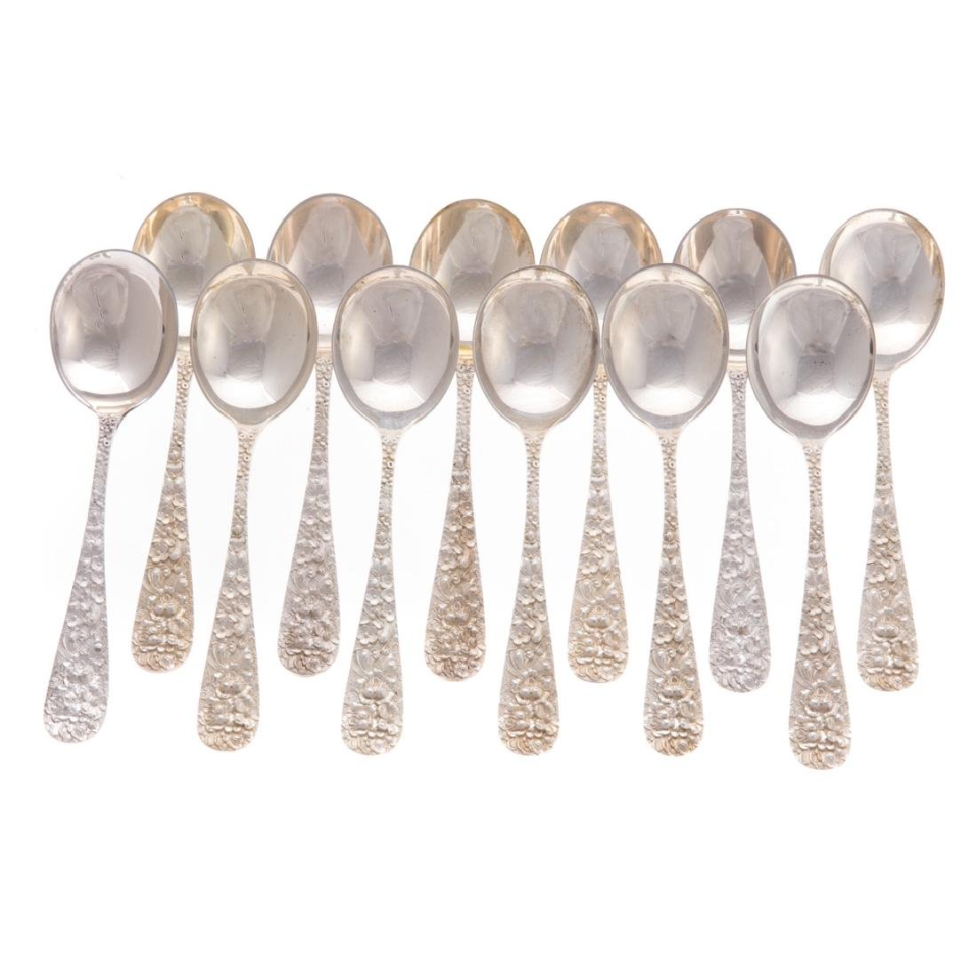 "Set of 12 Stieff ""Rose"" sterling soup spoons"