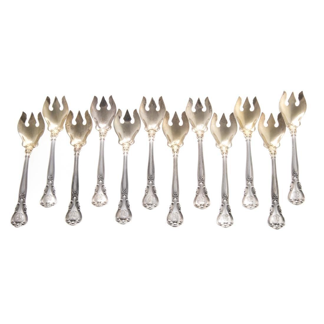 "12 Gorham ""Chantilly"" sterling ice cream forks"