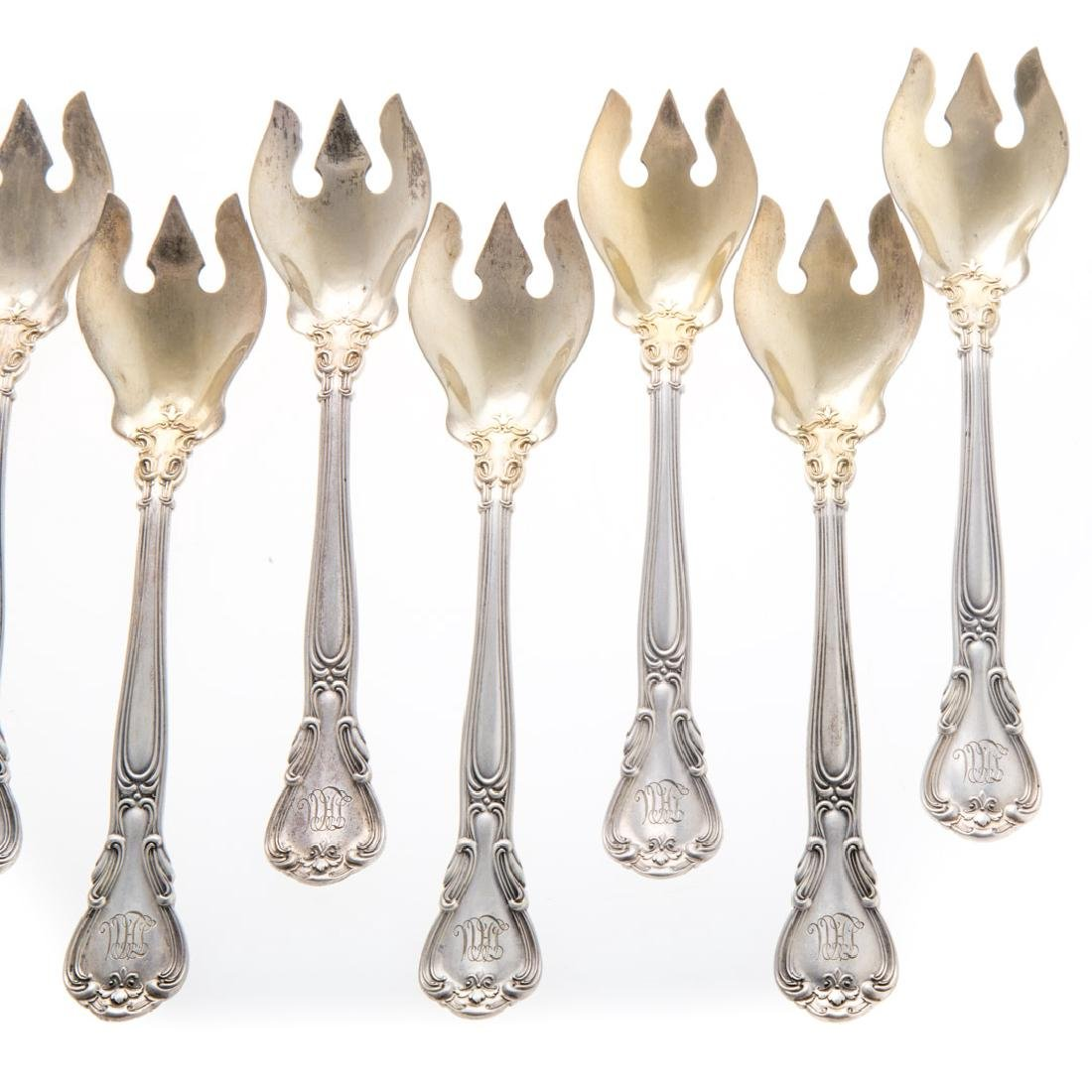 "12 Gorham ""Chantilly"" sterling ice cream forks - 2"