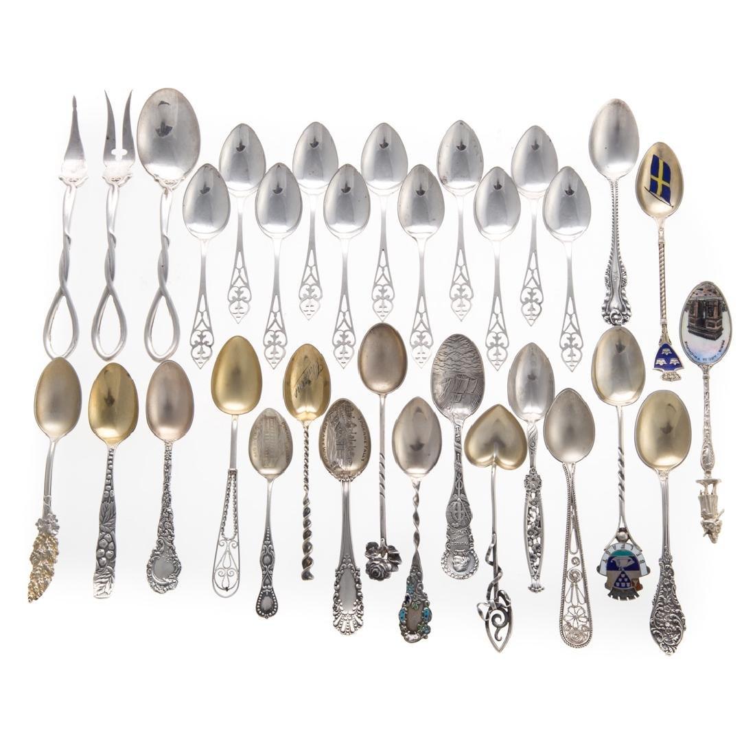 Assorted sterling souvenir & demitasse spoons