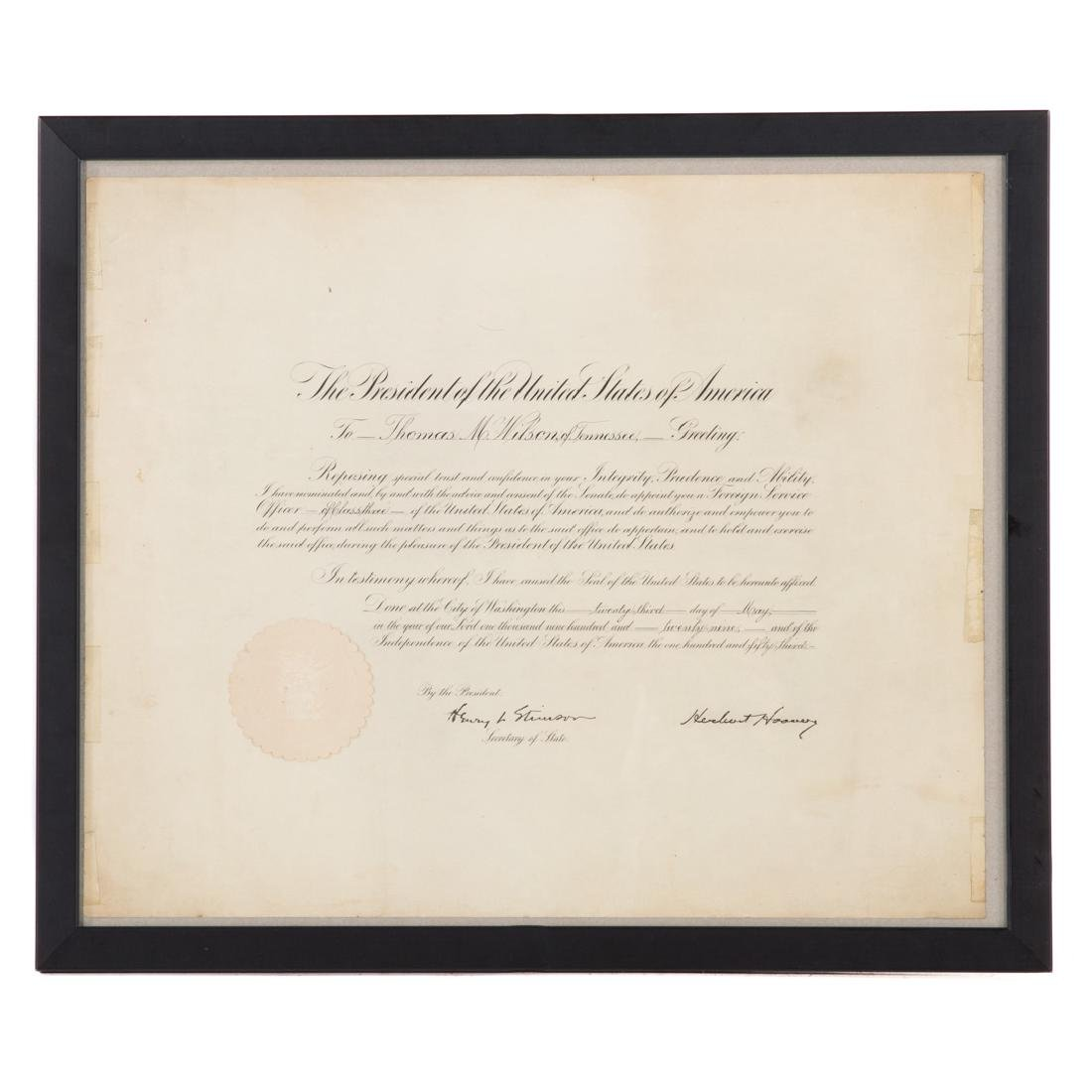 Hoover/Stimson signed document