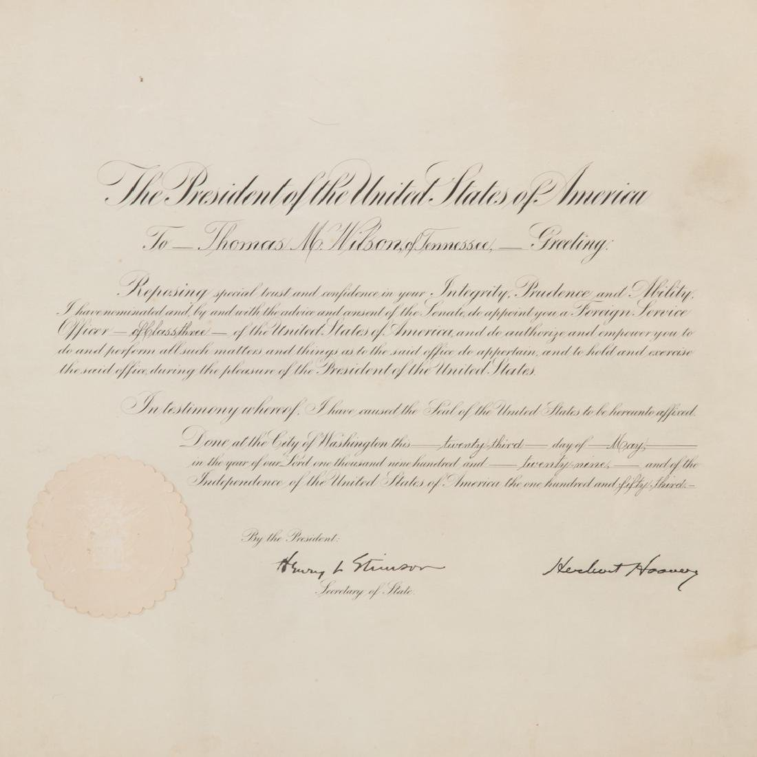 Hoover/Stimson signed document - 2