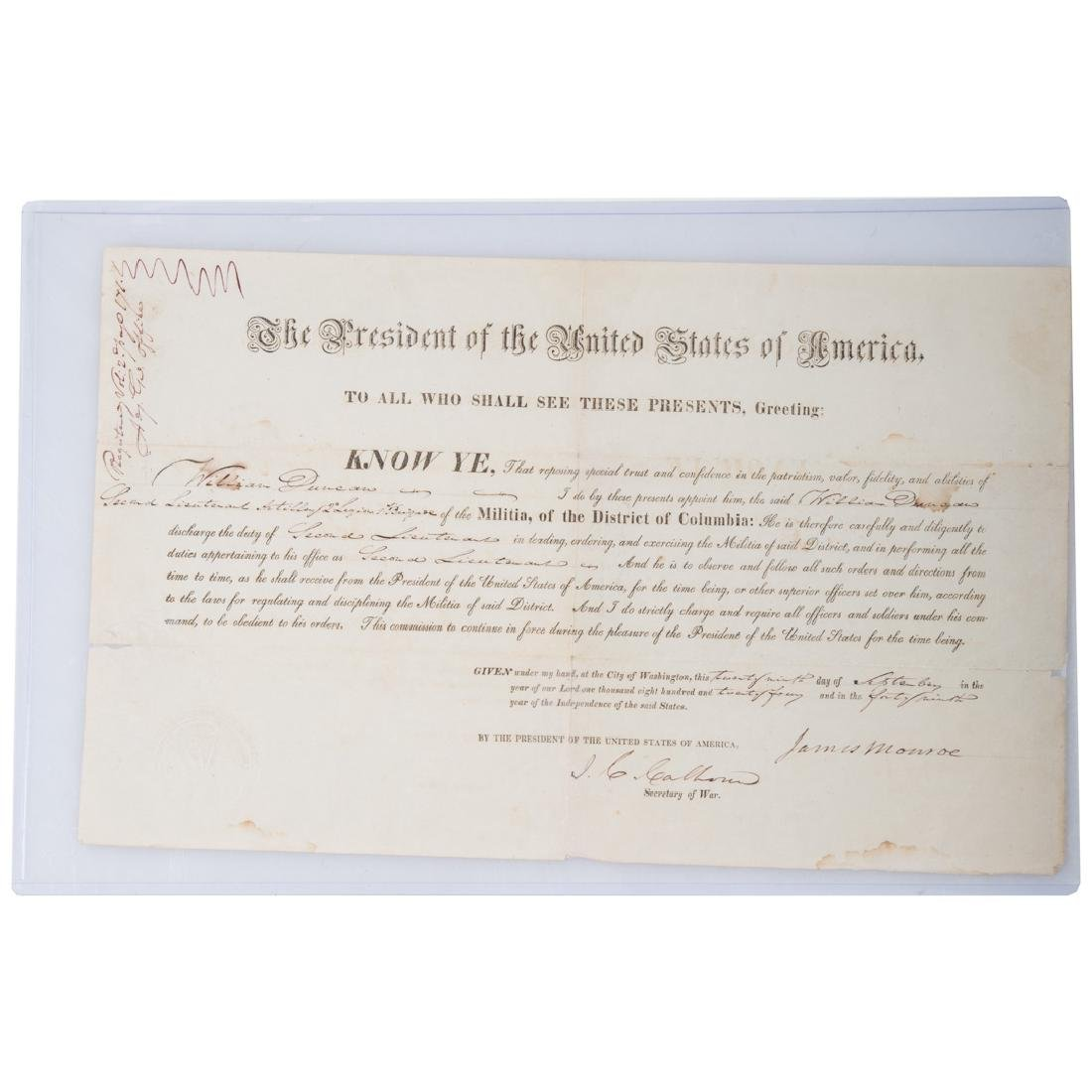 James Monroe signed military appointment