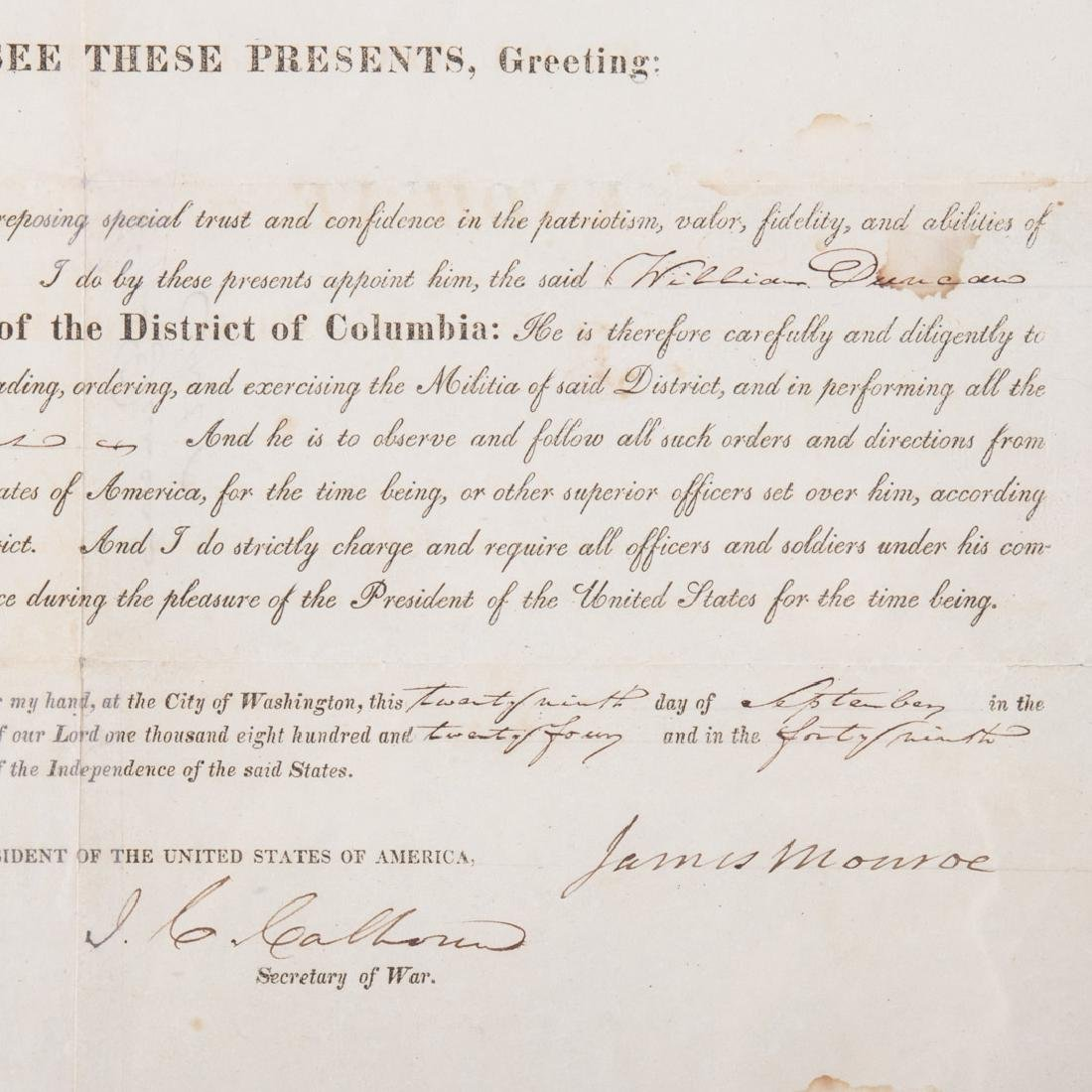 James Monroe signed military appointment - 2