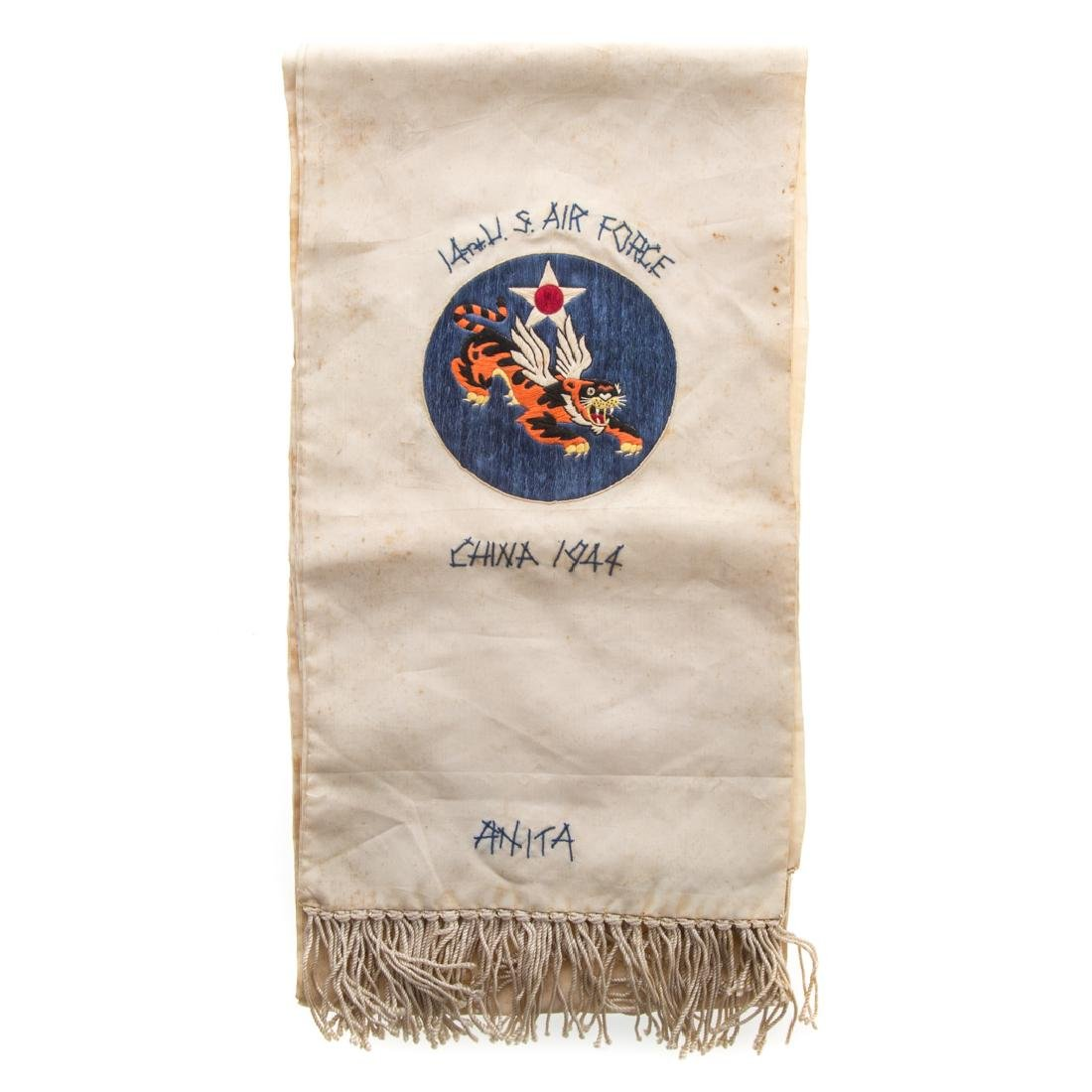 Flying Tigers embroidered silk scarf